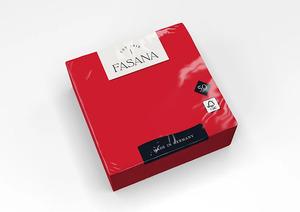 Fasana Lunch mini szalvéta, vörös, 3 rétegű, 33x33 cm, 50 lap, 1/4 hajtott