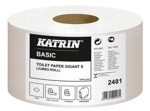 Katrin Basic Gigant S toalettpapír (wc papír), 19 cm átmérő, 150 méter, 1 rétegű, natúr, 100% újrahasznosított, 12 tekercs/zsák, 117831