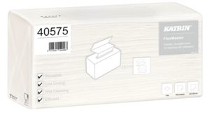 Katrin FlexMaster szöszmentes ipari törlő, hajtogatott, 1 rétegű, fehér, 100 lapos, 5 csomag/karton
