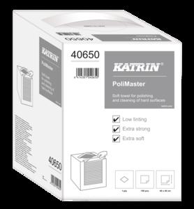 Katrin PoliMaster szöszmentes ipari törlő, hajtogatott, 1 rétegű, fehér, 150 lapos